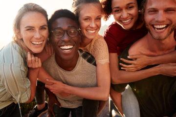 Five millennial friends are having fun on a spring break road trip to Branson, MO